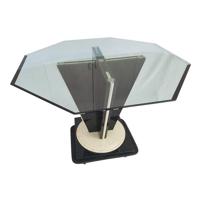 Glass Top Table with Granite & Marble Base - Image 1 of 8
