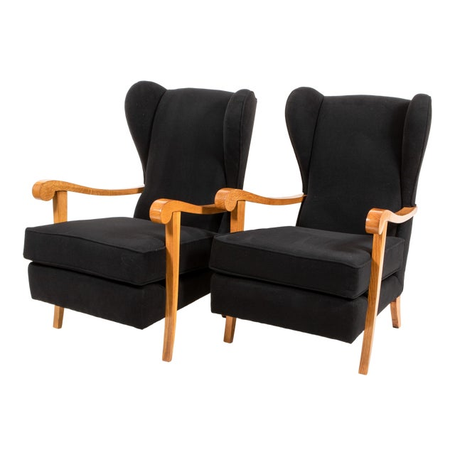 1940s Oak and Black Wool High Back Armchairs - a Pair For Sale