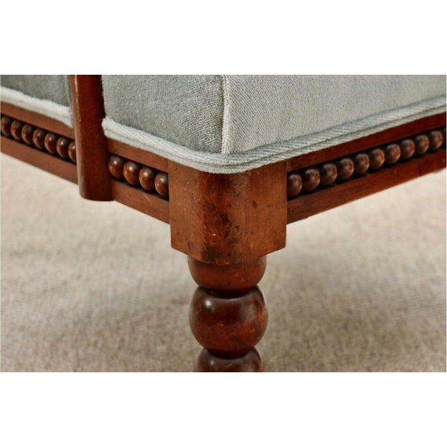 Classic 20th Century Upholstered English Bobbin Turned Lounge Chair on Castors For Sale - Image 9 of 12