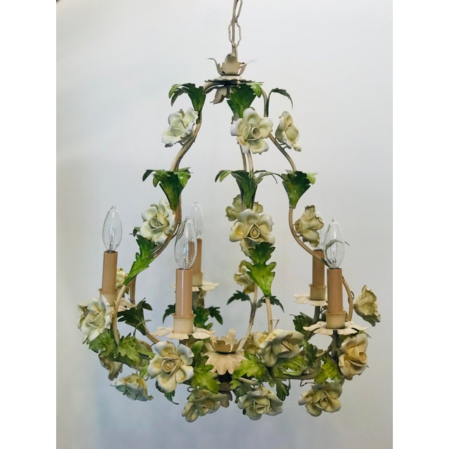 1940s Italian Floral Hand Painted Tole Porcelain Chandelier For Sale - Image 5 of 5