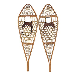 Vintage Mid Century Canadian Snowshoes - a Pair For Sale