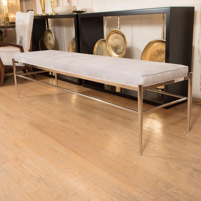 """Monumental rectangular bench with upholstered seat. Origin: Italy Circa: Contemporary Dimensions: 71"""" wide x 20.5"""" deep x..."""