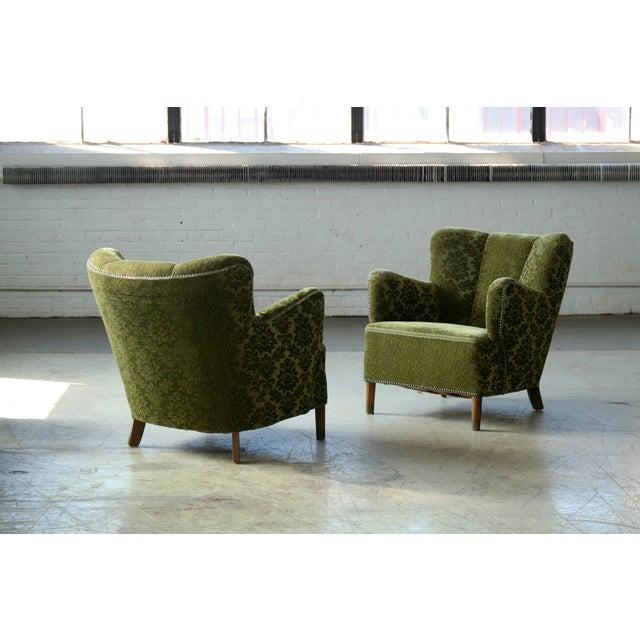 Fritz Hansen Pair of Danish 1940s Fritz Hansen Model 1669 Style Lounge Chairs For Sale - Image 4 of 11