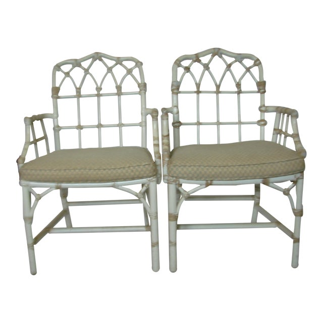 Vintage McGuire Rattan Arm Chairs - Pair - Image 1 of 6