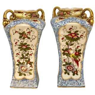 Chinese Chippendale Style Twin Handled Signed Nippon Vases - a Pair For Sale