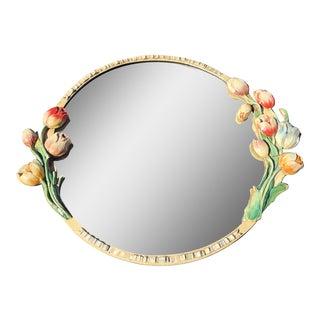 1940s Barbola Round Beveled Edge Mirror For Sale
