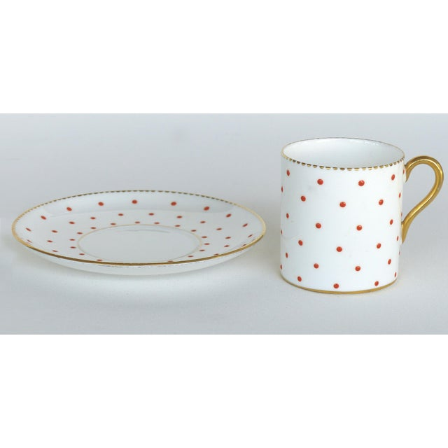 Mid-Century Modern Shelley England Bone China Enameled and Gilt Demitasse Cups and Saucers - 10 Pc. Set For Sale - Image 3 of 8