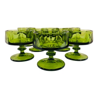 Vintage 1960s Green Glass Low Coupes, Set of 8 For Sale