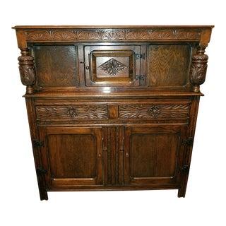 English Oak Renaissance Revival Cabinet For Sale