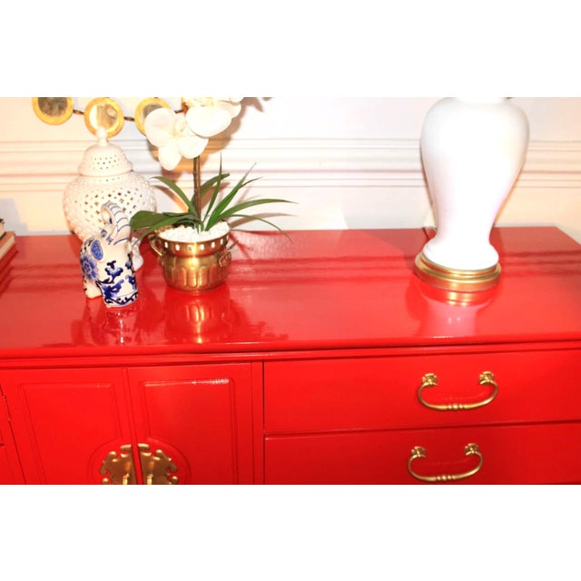 Basset Chinoiserie Red Lacquered Dresser Credenza For Sale - Image 6 of 10