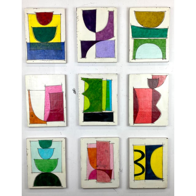 """""""Eat the Cake"""" by Gina Cochran Encaustic Collage Installation - 9 Panels For Sale - Image 13 of 13"""