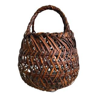 Japanese Bamboo Ikebana Basket by Yamamoto Chikuryosai I Shoen For Sale