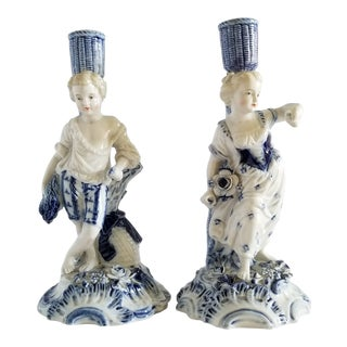 Antique Meissen Porcelain Candlesticks-A Pair For Sale