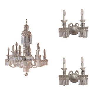 Crystal Chandelier With Matching Wall Sconces - Set of 3 For Sale