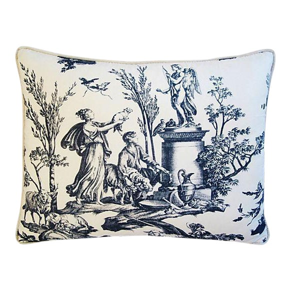 """23"""" X 18"""" Custom Tailored French Country Toile Feather/Down Pillow - Image 1 of 4"""