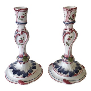 Italian Faience Candlesticks For Sale