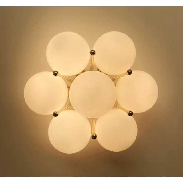 Italian modern flush mount or wall light with 7 glossy white Murano glass globes mounted on chic polished brass finish /...