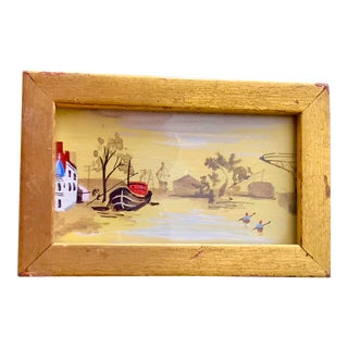 Antique Miniature Painting ~ Leeboard Sailboat and 2 Kayakers For Sale