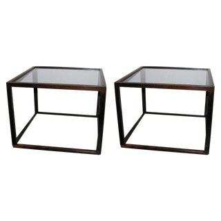 Brazilian Rosewood Open Frame Cube Occasional Tables - a Pair For Sale