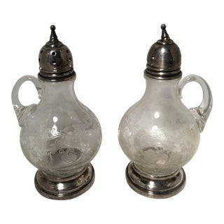 Sterling & Crystal Salt & Pepper Shakers - A Pair