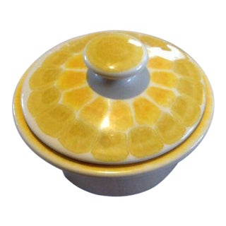 Vintage Mid Century Modern Yellow Dotted Pottery Sugar Bowl