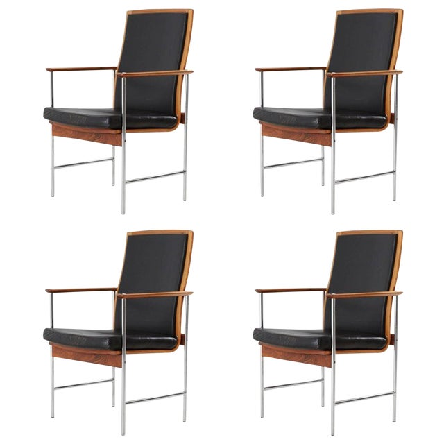 Set of Four Finnish Rosewood Armchairs For Sale