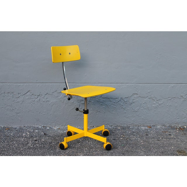 1960s Mid Century Modern Beautiful Yellow Desk Chair For Sale - Image 5 of 11