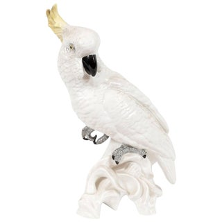 Mid-Century Modern White Porcelain Cockatoo by T.J. Jones for Staffordshire For Sale