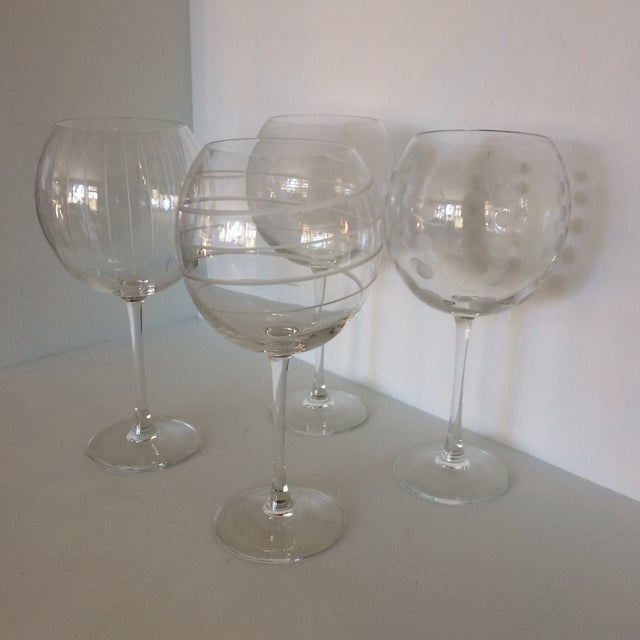 Contemporary Vintage Mikasa Etched Crystal Balloon Wine Glasses - Set of Four in Original Box Made in France For Sale - Image 3 of 13