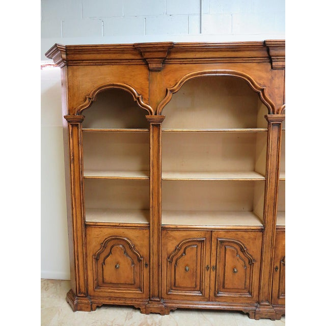 Vintage Italian Monumental 3 Piece Custom Bookcase China Cabinet Hutch For Sale - Image 4 of 10