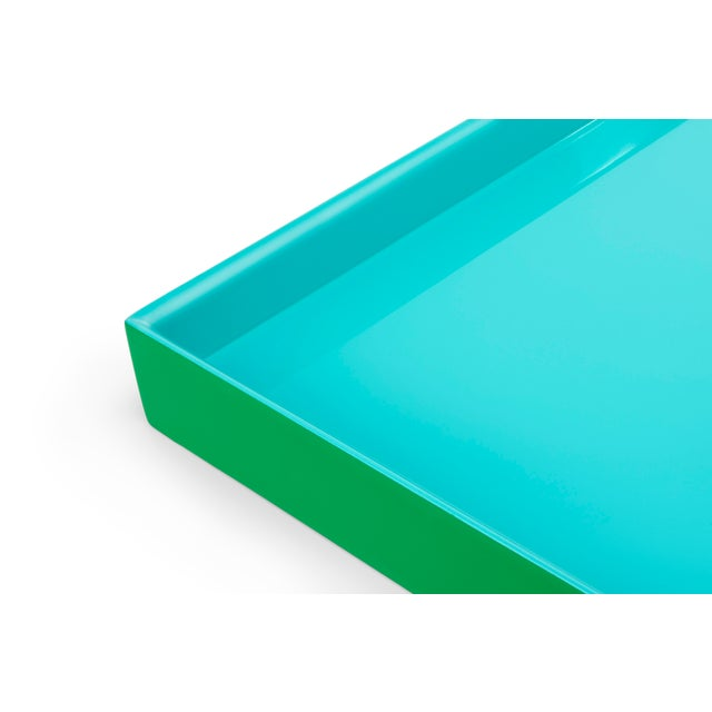 Contemporary Pentreath & Hall Collection Medium Tray in Kelly Green / Tiffany Blue For Sale - Image 3 of 4