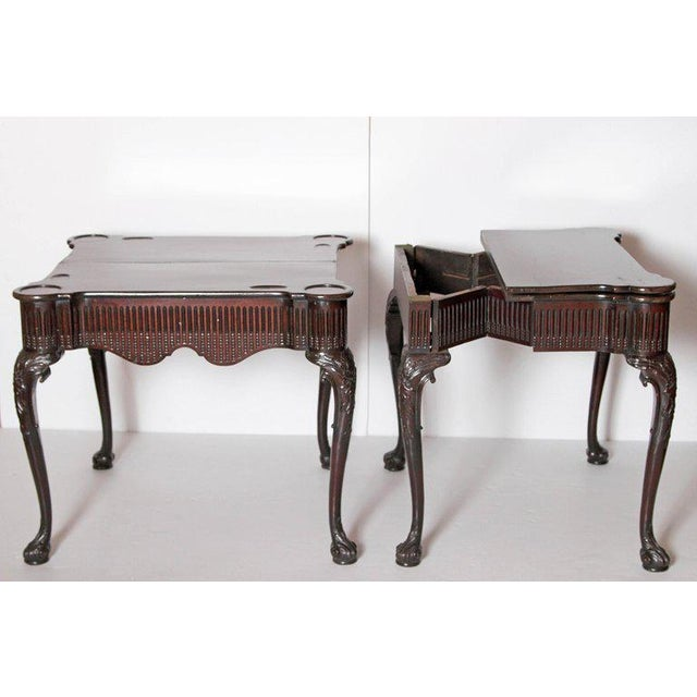 Pair of Irish Chippendale Carved Mahogany Concertina Card Tables For Sale - Image 9 of 12