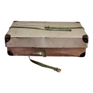 "Aluminum Laundry Shipping Case Box With Original Canvas Straps Nickname ""Rough Rider"" For Sale"