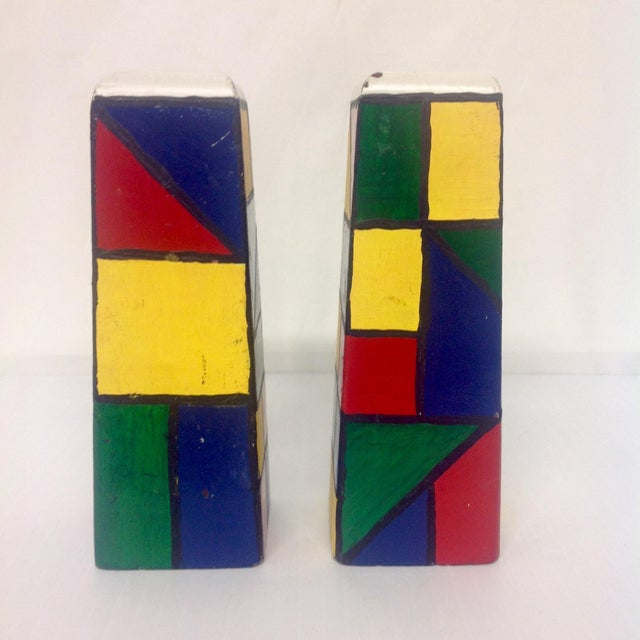 Mid 20th Century Piet Mondrain Style HardWood Salt & Pepper Shakers For Sale - Image 5 of 6