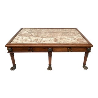 20th Century Hollywood Regency Marble and Wood Coffee Table For Sale