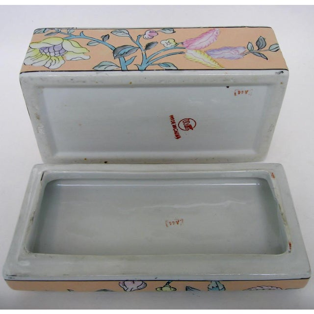 Orange Chinese Porcelain Lotus Box For Sale - Image 8 of 8