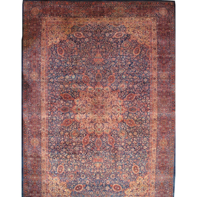 Pasargad NY Antique Indo Tabriz Design Manchester Wool Hand-Knotted Rug - 12′ × 17′5″ For Sale