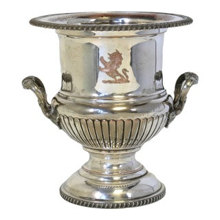 Early 20th Century Heavy Lion Coat of Arms Champagne Bucket For Sale