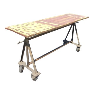 Vintage Industrial Rustic Farmhouse Entry Table French Country on Wheels For Sale