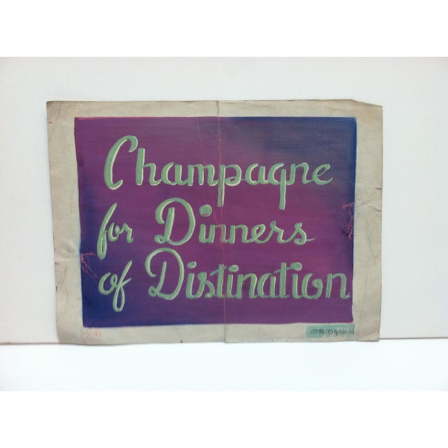 """Early 20th Century Antique """"Champagne for Dinners of Distinction"""" Or. Dyson Original Painting on Parchment Paper For Sale - Image 4 of 4"""