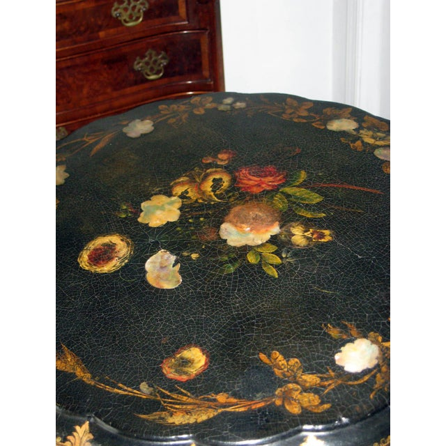 Traditional 19th Century Victorian Paper Mache Tilt Top Round Table For Sale - Image 3 of 10