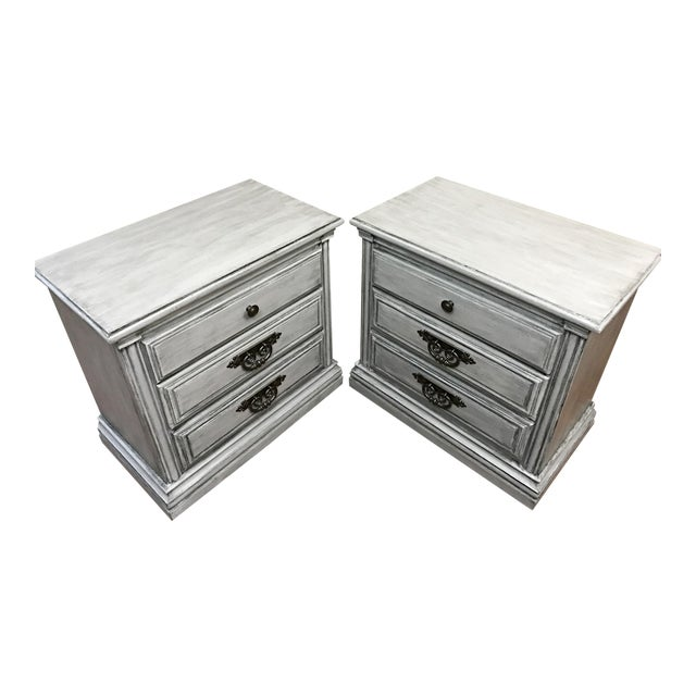 Light Grey Glazed Nightstands - Pair - Image 1 of 7