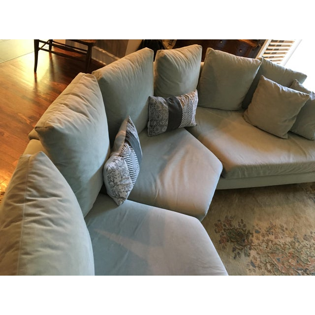 Blue Vintage Mid Century Modern Curved Sectional Couch B&b Italia Style For Sale - Image 8 of 11