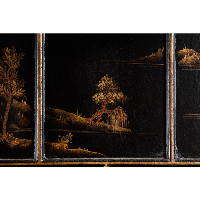 Black Japanese Large Four-Panel Landscape Scenes With Individual Raised Frames Screen/Room Divider 6 Ft W X 6.5 Ft H by Lawrence & Scott For Sale - Image 8 of 12