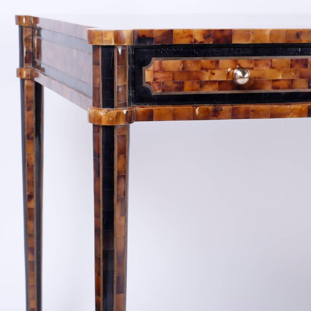 Chic Midcentury Pen Shell Three-Drawer Desk or Writing Table For Sale In West Palm - Image 6 of 10