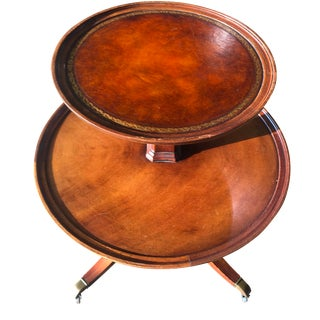 Weiman Leather Top Mahogany Two-Tier Side Table For Sale