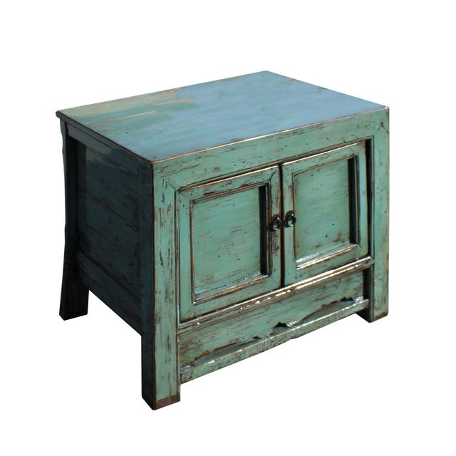 Asian Oriental Distressed Aqua Green Lacquer Side End Table Nightstand For Sale - Image 3 of 8