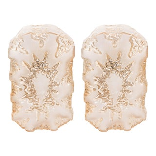 Austrian 1960s 'Eruption' Sconces in Textured Glass with Frosted Detail - a Pair For Sale