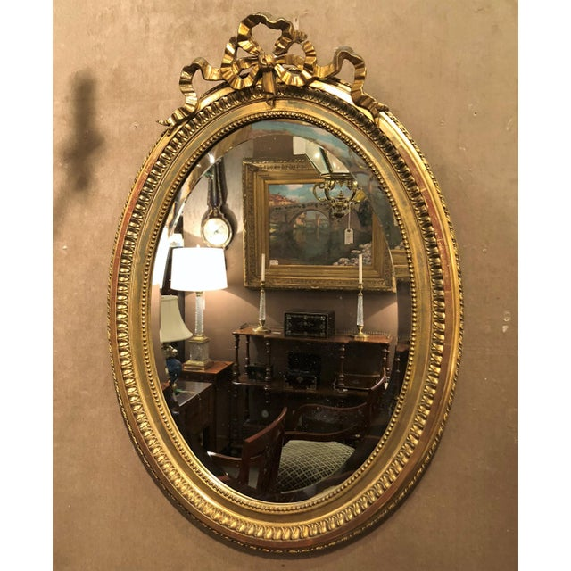 Antique French 19th Century Louis XVI Style Gold Mirror with Beveling. For Sale - Image 4 of 4