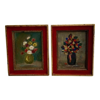Vintage Miniature Framed Oil Paintings on Canvas - a Pair For Sale